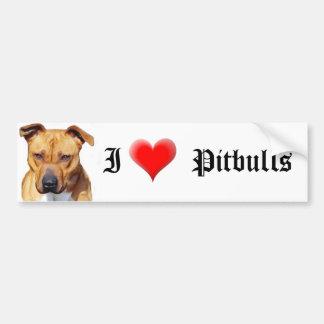 Amo a la pegatina para el parachoques de Pitbulls Pegatina Para Auto
