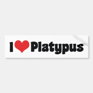 Amo a la pegatina para el parachoques de Platypus Pegatina Para Auto