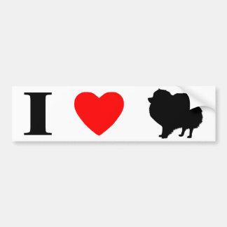 Amo a la pegatina para el parachoques de Pomerania Etiqueta De Parachoque