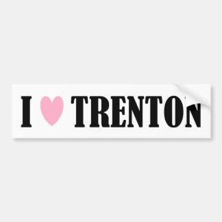 Amo a la pegatina para el parachoques de Trenton Etiqueta De Parachoque