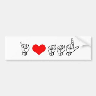 Amo a la pegatina para el parachoques del ASL Pegatina De Parachoque