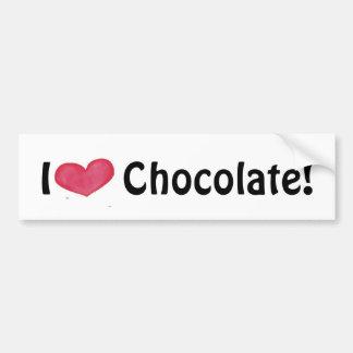 Amo a la pegatina para el parachoques del chocolat pegatina para auto