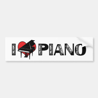 Amo a la pegatina para el parachoques del piano pegatina para auto