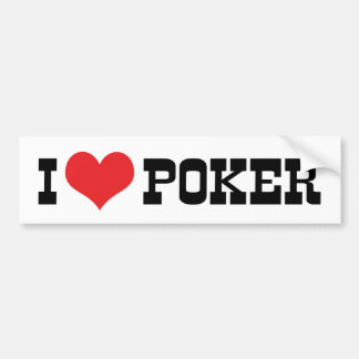 Amo a la pegatina para el parachoques del póker pegatina de parachoque
