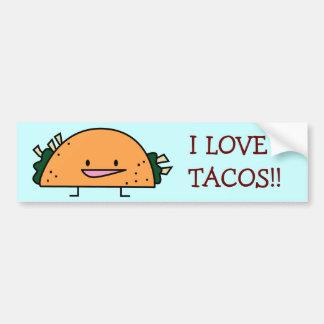 Amo a la pegatina para el parachoques del Tacos Pegatina Para Auto
