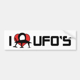 Amo a la pegatina para el parachoques del UFO Pegatina Para Auto