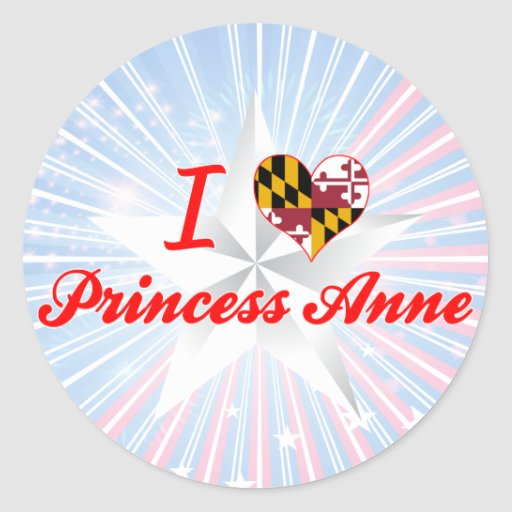 Amo a la princesa+Anne, Maryland Pegatinas Redondas