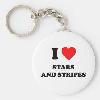 Amo a las barras y estrellas llavero redondo tipo pin