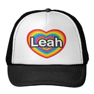 Amo a Leah. Te amo Leah. Corazón Gorras