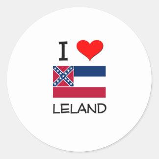 Amo a Leland Mississippi Pegatina Redonda
