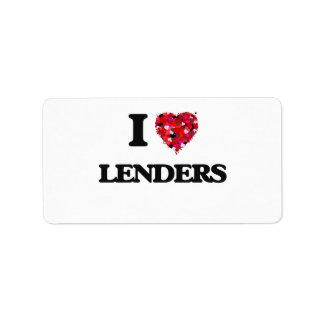 Amo a Lenders Etiquetas De Dirección