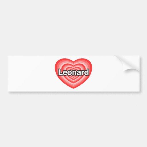 Amo a Leonard. Te amo Leonard. Corazón Pegatina De Parachoque