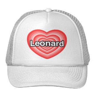 Amo a Leonard. Te amo Leonard. Corazón Gorros