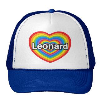 Amo a Leonard. Te amo Leonard. Corazón Gorras