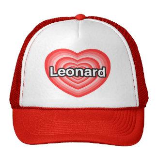 Amo a Leonard. Te amo Leonard. Corazón Gorros Bordados