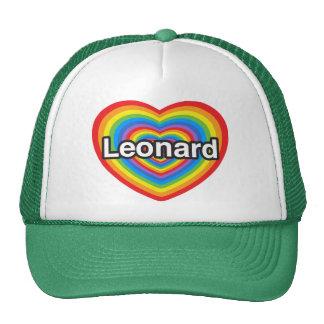 Amo a Leonard. Te amo Leonard. Corazón Gorras De Camionero