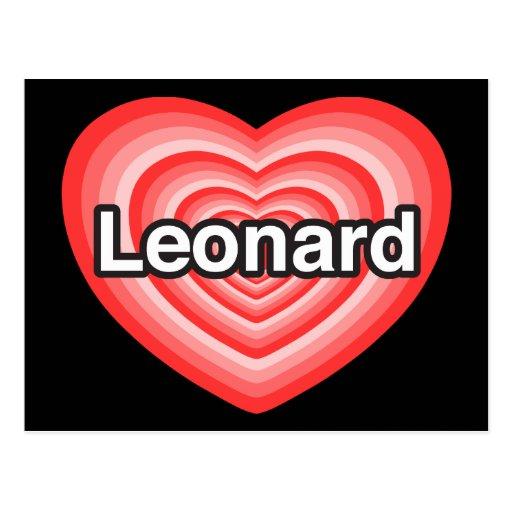 Amo a Leonard. Te amo Leonard. Corazón Postal
