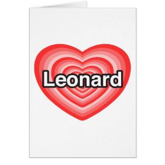 Amo a Leonard. Te amo Leonard. Corazón Tarjeta De Felicitación