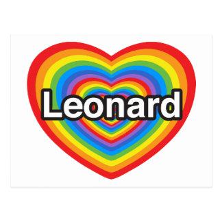Amo a Leonard. Te amo Leonard. Corazón Tarjetas Postales