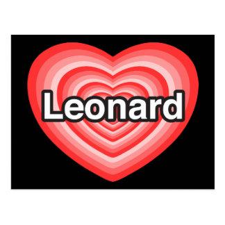 Amo a Leonard. Te amo Leonard. Corazón Tarjeta Postal