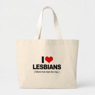 Amo a lesbianas bolsa tela grande