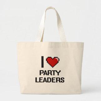 Amo a líderes de fiesta bolsa tela grande