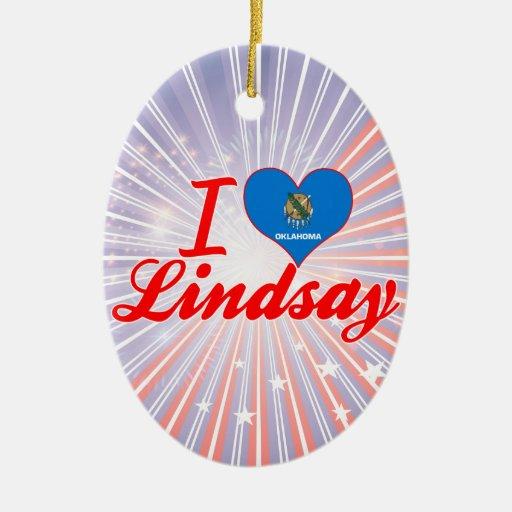 Amo a Lindsay, Oklahoma Adorno Navideño Ovalado De Cerámica