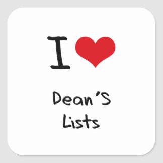 Amo a Lists de decano Calcomanía Cuadradas Personalizadas