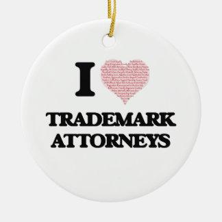 Amo a los abogados de la marca registrada (el adorno navideño redondo de cerámica