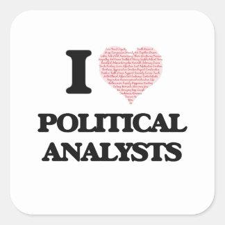 Amo a los analistas políticos (el corazón hecho de pegatina cuadrada