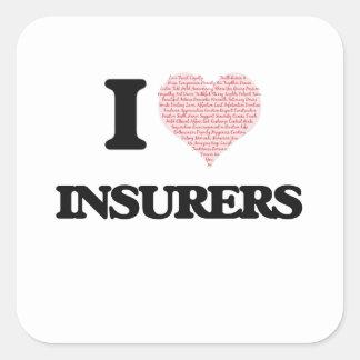 Amo a los aseguradores (el corazón hecho de pegatina cuadrada
