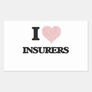 Amo a los aseguradores (el corazón hecho de pegatina rectangular