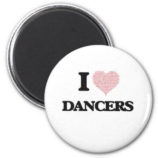 Amo a los bailarines (el corazón hecho de imán redondo 5 cm