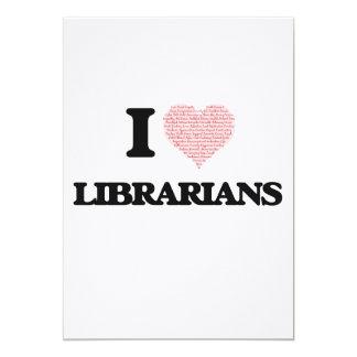 """Amo a los bibliotecarios (el corazón hecho de invitación 5"""" x 7"""""""