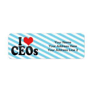 Amo a los CEOs Etiqueta De Remite