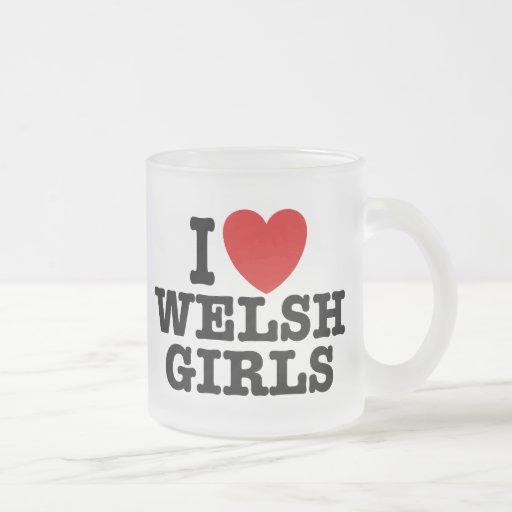 Amo a los chicas Galés Tazas De Café