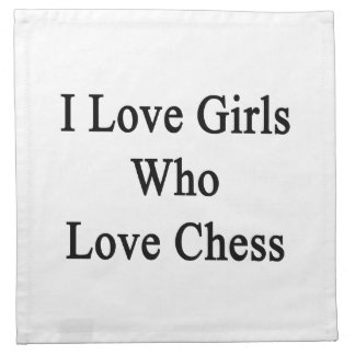 Amo a los chicas que aman ajedrez servilleta de papel