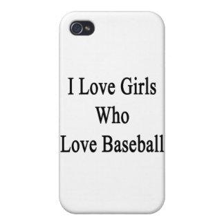 Amo a los chicas que aman béisbol iPhone 4 funda