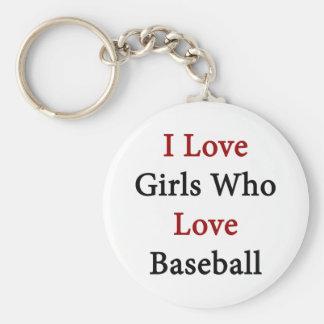 Amo a los chicas que aman béisbol llavero redondo tipo pin