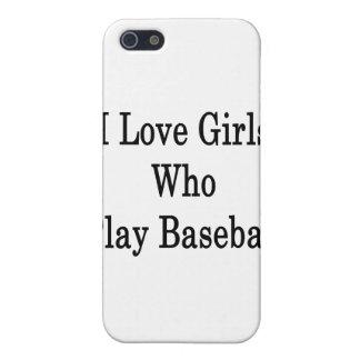 Amo a los chicas que juegan a béisbol iPhone 5 carcasa
