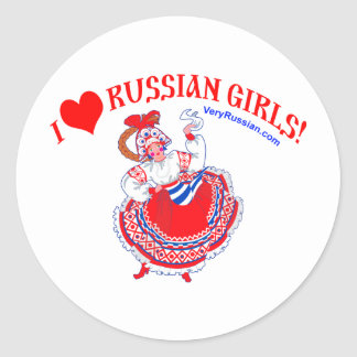Amo a los chicas rusos pegatina redonda