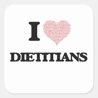 Amo a los dietético (el corazón hecho de palabras) pegatina cuadrada