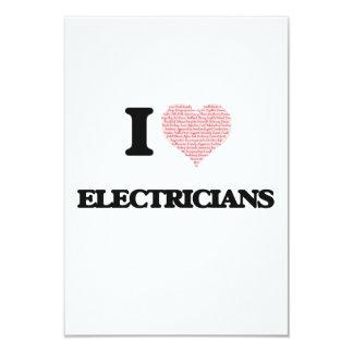 """Amo a los electricistas (el corazón hecho de invitación 3.5"""" x 5"""""""