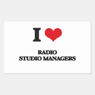 Amo a los encargados de radio del estudio rectangular pegatina