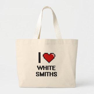 Amo a los forjadores blancos bolsa tela grande