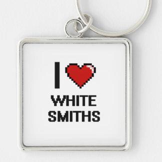 Amo a los forjadores blancos llavero cuadrado plateado
