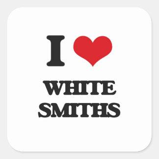 Amo a los forjadores blancos pegatinas cuadradas