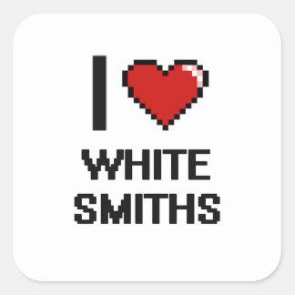 Amo a los forjadores blancos pegatina cuadrada