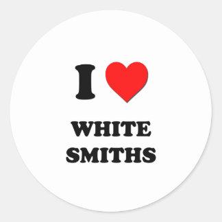 Amo a los forjadores blancos pegatina redonda