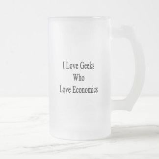 Amo a los frikis que aman la economía taza cristal mate
